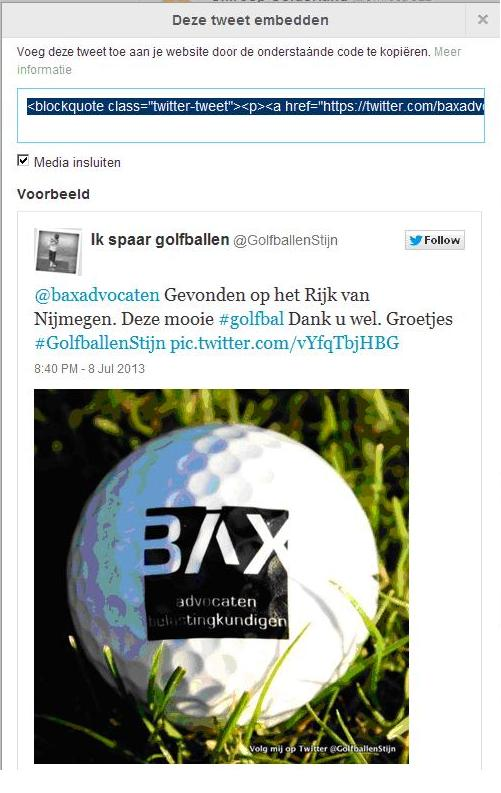 Bax golfbal tweet 1